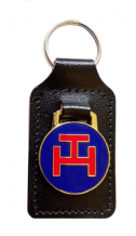 Order of the Holy Royal Arch Triple Tau Black Leather Masonic Key Fob - K027
